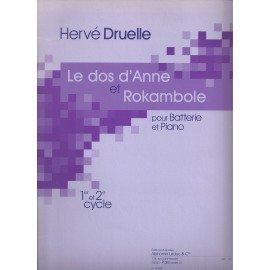 LE DOS D'ANNE ET ROCKAMBOLE de Hervé DRUELLE pour Batterie et piano