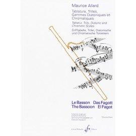 Tablature, Trilles Gammes Diatoniques et Chromatiques Maurice ALLARD pour Basson